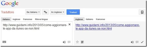 Tradurre intera pagina internet incollando l'indirizzo in Google Traduttore