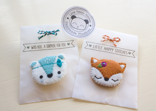 Little Happy Stitches Felt Brooches | Lavender & Twill