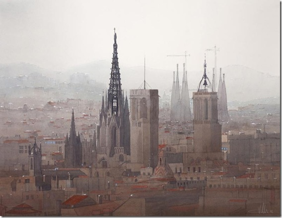 22 Panorama sobre la Catedral de Barcelona 76x 96cm