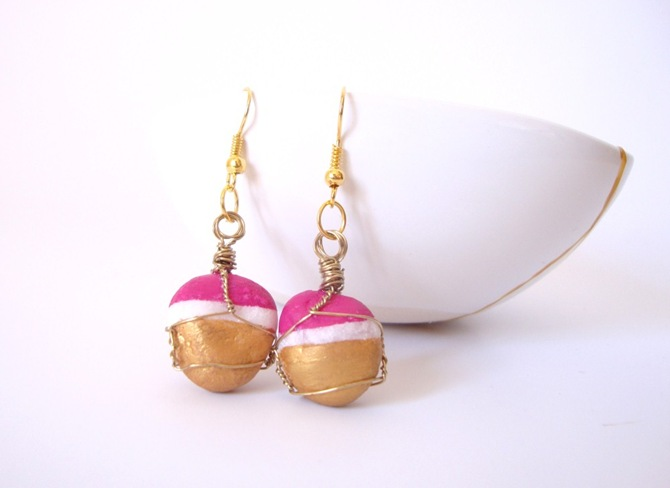 pink gold wire wraped stone earrings (3)