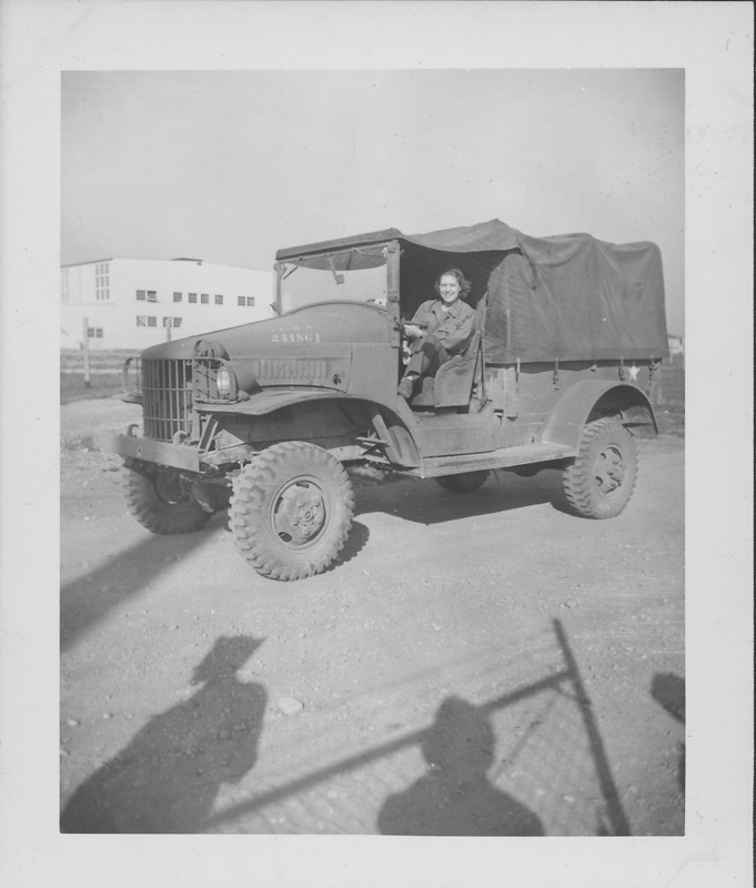 Women's Army Corps (WACS) servicewoman L. Weber in a truck at Patterson Field, April-December 1944.
