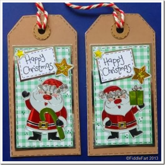 gingham santa sticker tags
