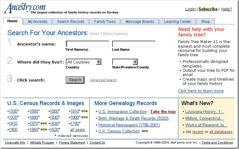 Ancestry.com Real Old Search home page