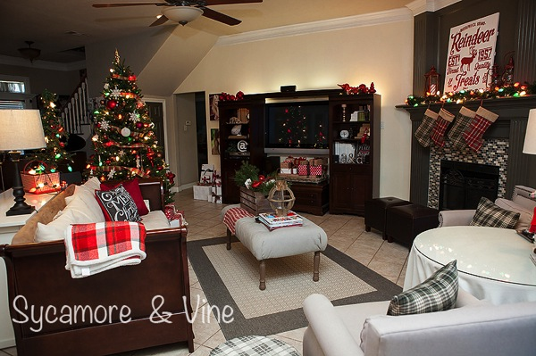 A plaid inpired country Christmas Living Room. A truly stunning Christmas Home Tour as part of the Christmas in the Country Blog Tour. This Plaid Inspired Country Christmas will knock your socks off. Features tours of the Living room, Dining Room and a Cocoa hot chocolate bar in the Breakfast room. There is so much inspiration for Christmas decorations in this one post. Be prepared to feel like you are cuddled up by the fire in a warm Northwoods comfy cottage! #country #Christmas #Plaid #Holiday decorating #Holiday ideas #Holidays #Christmas decor #Holiday decor