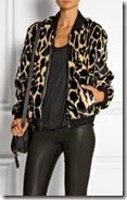 DKNY Leopard Print Faux Fur Bomber Jacket
