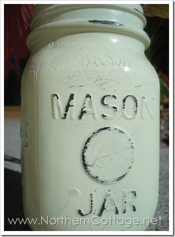 distressed mason jar@NorthernCottage.net