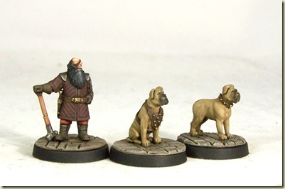 Dwarf and dogs