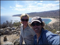 Sweaty hikers above Los Frailes