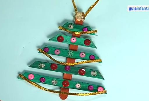 Manualidades navidad ni os rbol hecho con palitos - Manualidades de navidad para ninos paso a paso ...
