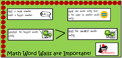 Bulletin boards should be educational, not decoration.  Stop by Raki's Rad Resources for ideas on how to make your bulletin boards more educational.  Math Word Wall with definitions and graphics to help students understand key math vocabulary.