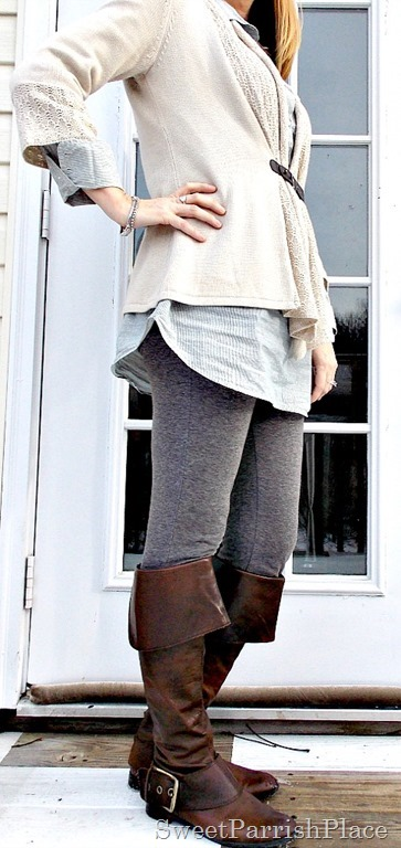 Grey leggings, blue tunic, tan cardigan, brown boots3
