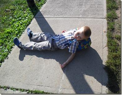 chilling on sidewalk