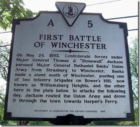 First Battle Of Winchester marker A-5 on Handley Boul. Winchester, VA
