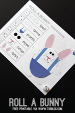 733 Blog - Roll a Bunny Free Printable Easter Game