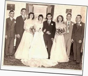Harry and Ruth Weber Wedding: Left to Right - Bob Weber (brother of groom), Don Faust, Jane Weber (sister of bride), Ruth Weber, Harry Weber, Laverne Tragesser, Norbert Weber (father of bride), Dick Mathews -- 25 June 1949, St. Philip Neri Catholic Church, Indianapolis, IN.