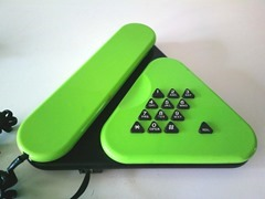 Low profile lime green and blck telephone