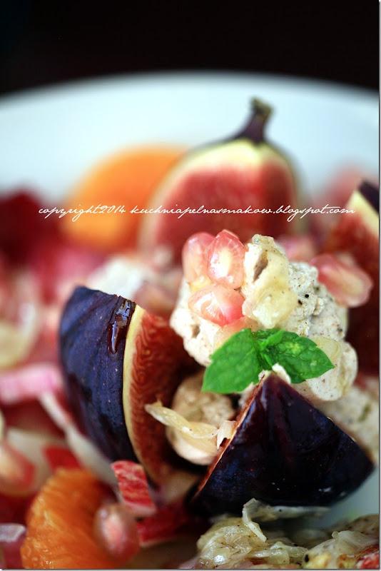 Sałatka z czerwonej cykorii, granatów, mandarynek i fig (5)