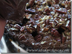 fill brownie holes with ganache