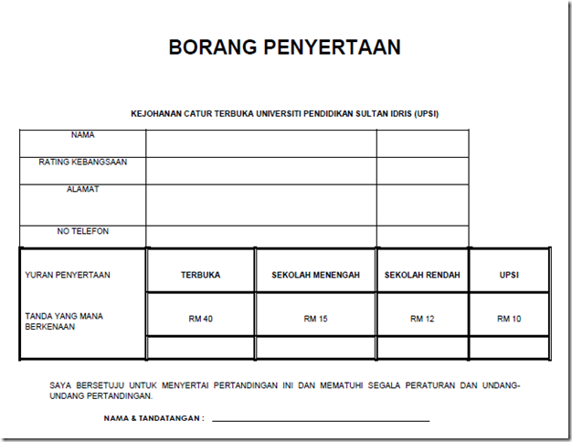 Registration Form for UPSI Open 2013