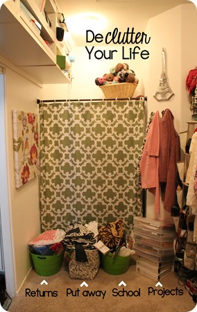 Keep bins in your closet to catch clutter unitl you can deal with it