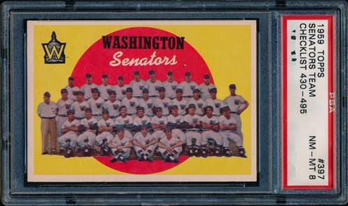 1959 Topps 397 Washington Senators Team and Checklist