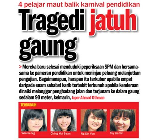 4 Pelajar maut jatuh gaung