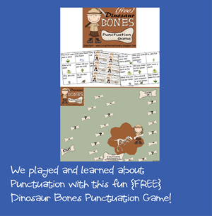 free dinosaur bones punctuation game for home school