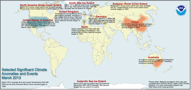 Selected significant global climate anomalies and events, March 2013. Graphic: NCDC