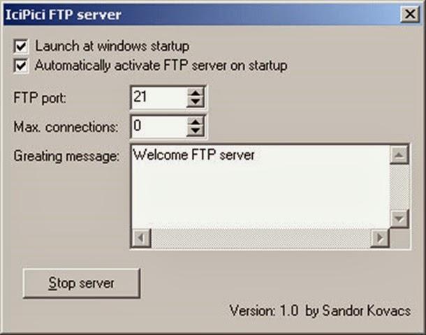 برنامج إنشاء سيرفر على الكمبيوتر icipici FTP Server 1.0