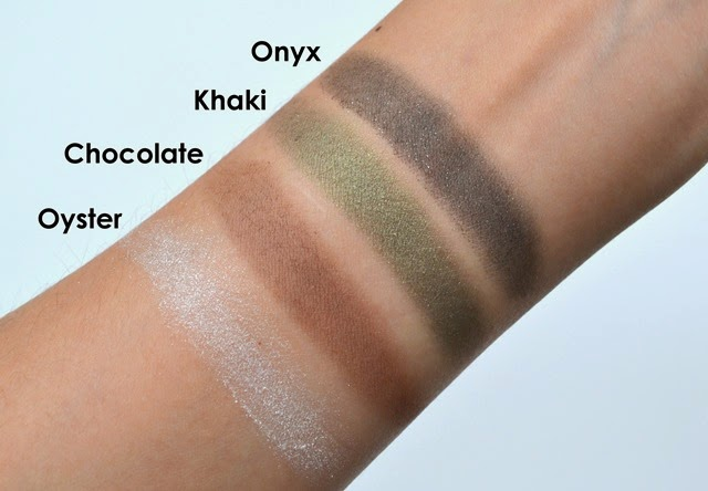 Revlon Shadowlinks Onyx Khaki Chocolate Oyster Swatches