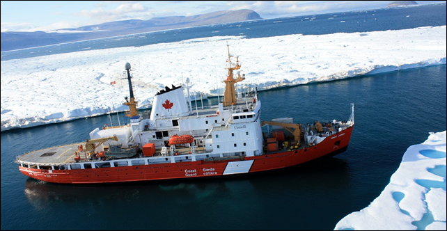 Canadian and U.S. scientists use the Canadian Coast Guard vessel, the CCGS Henry Larsen, in August 2012, to retrieve instruments assessing ice and currents in the region. Photo: Canadian Coast Guard