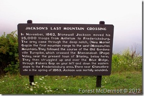 Jackson's Last Mountain Crossing on Skyline Drive at Fisher's Gap Overlook