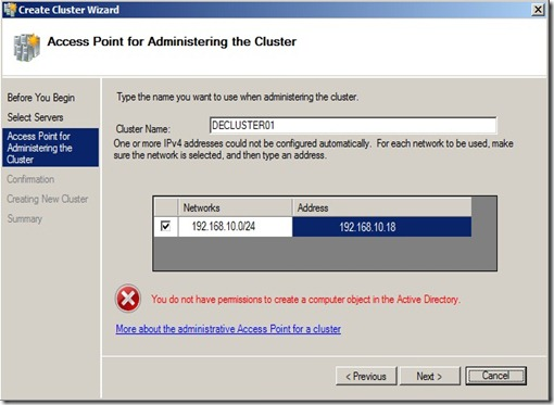 You do not have permissions to create a computer object in the Active Directory