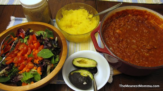 Spaghetti Sauce over Spaghetti Squash with Green Salad & Balsamic Vinagrette Dressing