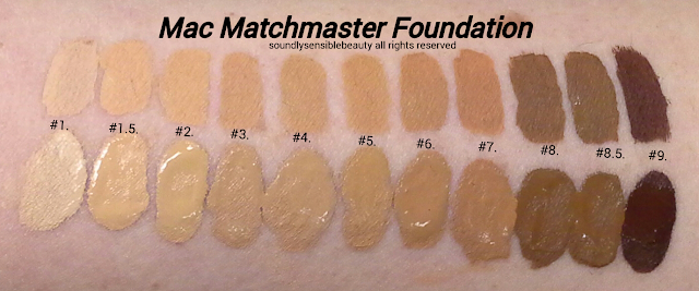 Mac Matchmaster Foundation; Shade Matching/Tone Adjusting Makeup Swatches