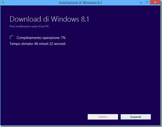 Installazione Windows 8.1 Download di Windows 8.1