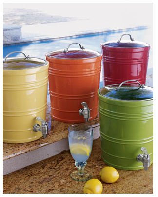 These mini drink dispensers come in such great colors. They are fun and decorative containers for everything from water, to punch, to sangria. (horchow.com)