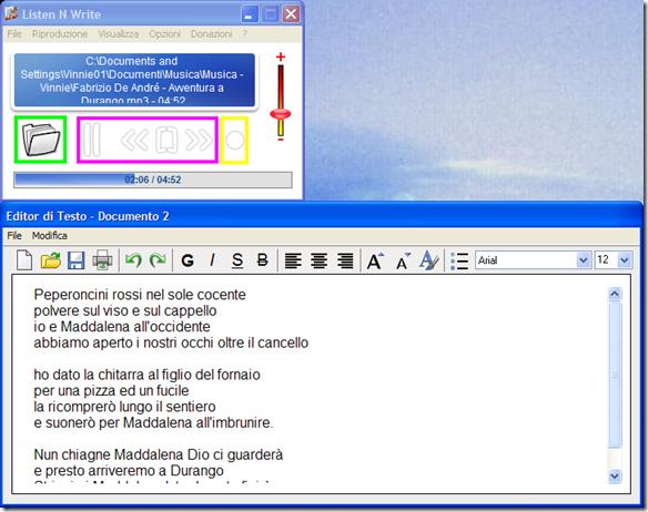 Listen N Write Player audio più Editor di testo