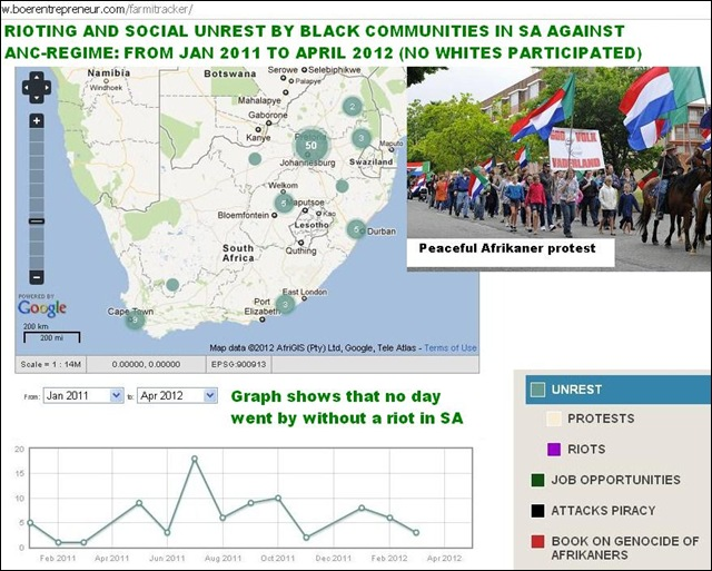RIOTING UNREST IN SOUTH AFRICA JAN 2011 TO APRIL 2012
