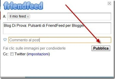 finestra condivisione friendfeed