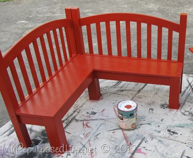 red kid corner bench