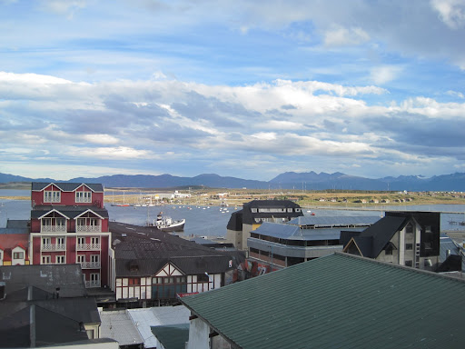 Downtown Ushuaia, with the port behind.