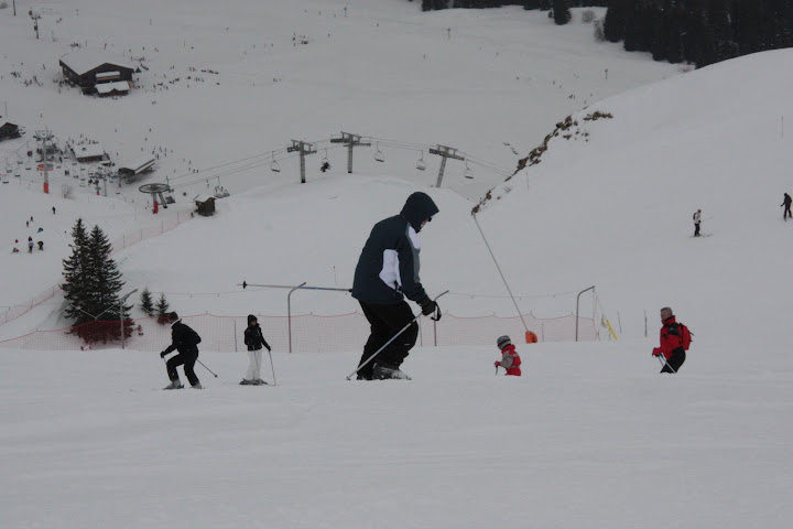 It was harder to see the contours in the snow when it was cloudy. Tim making his way cautiously down the mountain
