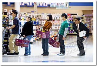 Grocery store standing in line