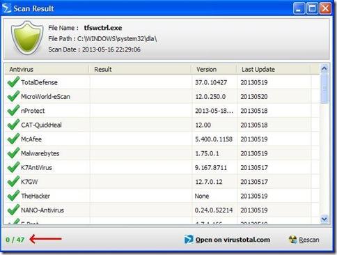 Finestra risultato scansione file PhrozenSoft VirusTotal Uploader