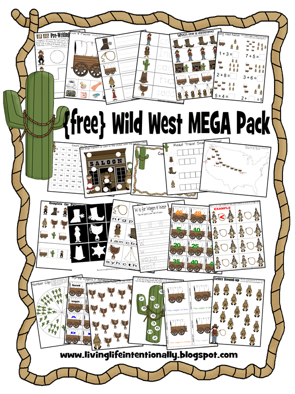 FREE wild west preschool pack with cowboys, covered wagons, indiians and more for toddler, preschool, kindergarten, 1st grade & 2nd grade homeschoolers