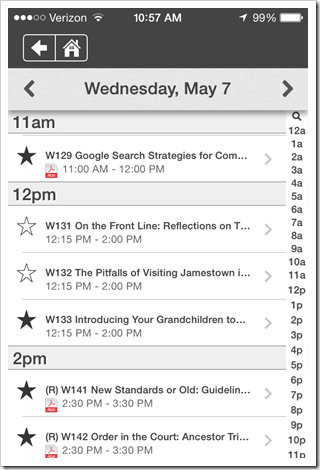 NGS Conference App - Browse sessions by day
