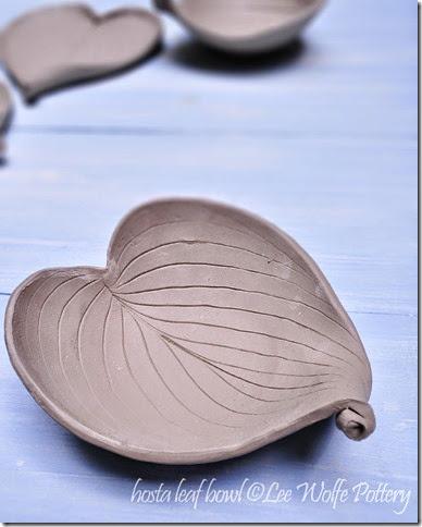 hosta leaf bowl by Lee Wolfe Pottery