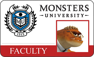 Professor Knight Monsters University Faculty Identification Card