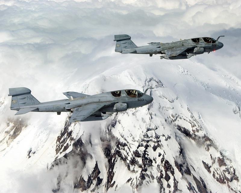 EA 6B Prowlers over Mount Rainier